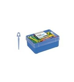 Eurostil,caja de 60pinzas plasticas medianas